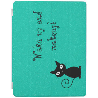 Whimsical Black Cat, Glittery-Wake up and makeup! iPad Cover