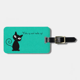 Whimsical Black Cat, Glittery-Wake up and makeup! Luggage Tag