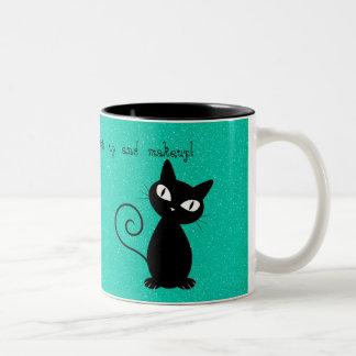 Whimsical Black Cat, Glittery-Wake up and makeup! Two-Tone Coffee Mug