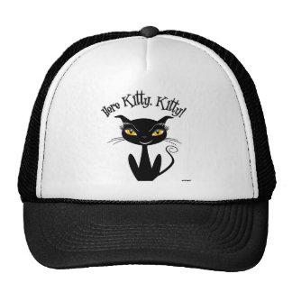 Whimsical Black Cat Here Kitty, Kitty! Cap
