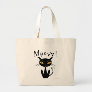 Whimsical Black Cat Meow! Tote Bags