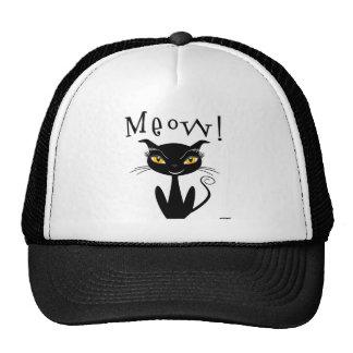 Whimsical Black Cat Meow! Trucker Hats