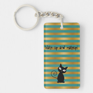 Whimsical  Black Cat,Stripes-Wake up and makeup Double-Sided Rectangular Acrylic Key Ring