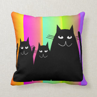 Whimsical Black Cats Ranbow Pillow