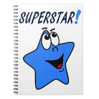 Whimsical Blue Cartoon Superstar Notebook for Boys
