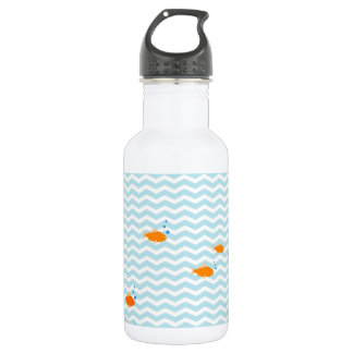 Whimsical Blue chevron with gold fish 532 Ml Water Bottle