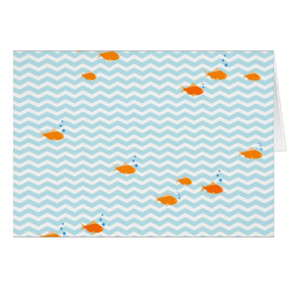 Whimsical Blue chevron with gold fish Card
