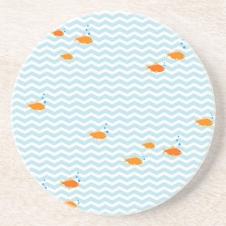 Whimsical Blue chevron with gold fish Coaster