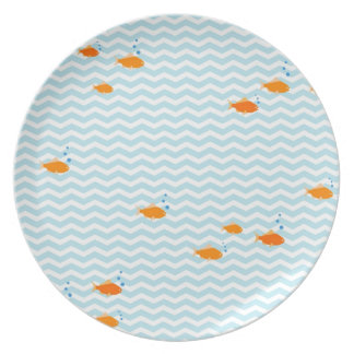 Whimsical Blue chevron with gold fish Plate
