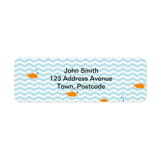 Whimsical Blue chevron with gold fish Return Address Label