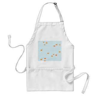 Whimsical Blue chevron with gold fish Standard Apron