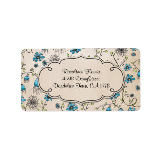whimsical blue flowers on beige address label