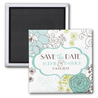 Whimsical Blue Flowers Save the Date Magnet