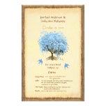 Whimsical Blue Heart Leaf Tree Wedding Program 14 Cm X 21.5 Cm Flyer