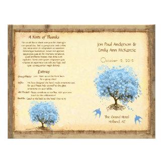 Whimsical Blue Heart Leaf Tree Wedding Program Full Color Flyer