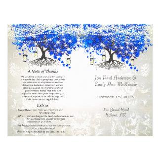 "Whimsical Blue Heart Leaf Tree Wedding Program 8.5"" X 11"" Flyer"