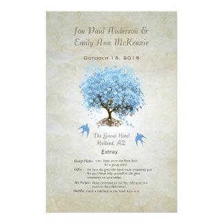 Whimsical Blue Heart Leaf Tree Wedding Program Flyer