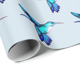 Whimsical Blue Hummingbirds Wrapping Paper