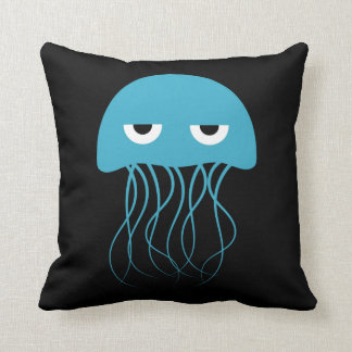 Whimsical Blue Jellyfish Cartoon Cushion