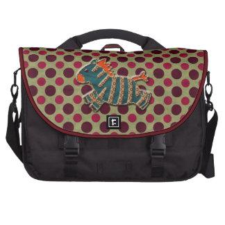 Whimsical Blue & Orange Zebra Laptop Bag