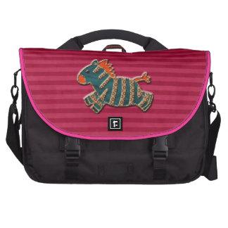 Whimsical Blue & Orange Zebra Pink Laptop Bag