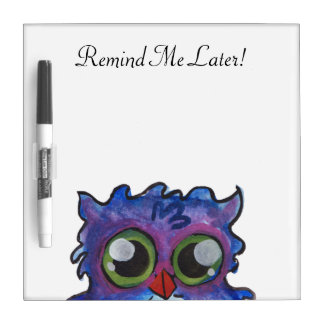 Whimsical Blue Owl Dry Erase Board Remind Me Later