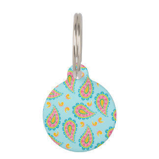 Whimsical Blue Paisley Pet Name Tag