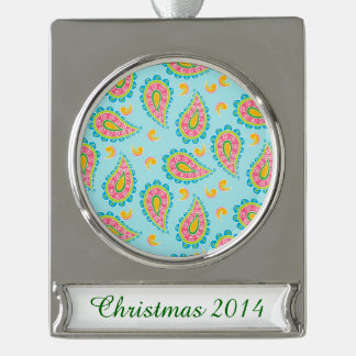 Whimsical Blue Paisley Silver Plated Banner Ornament