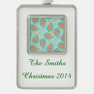 Whimsical Blue Paisley Silver Plated Framed Ornament