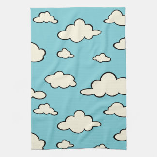 WHIMSICAL BLUE SKY CLOUD PATTERN KITCHEN TOWELS
