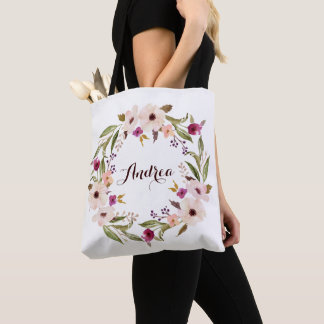 Whimsical Bohemian Floral Wreath Personalized Tote Bag