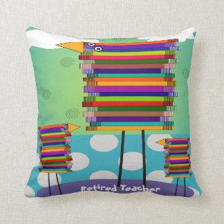 Whimsical Book Birds Retired Teacher Cushion