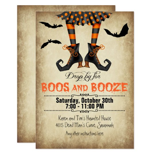Whimsical Boos and Booze Halloween Party Card