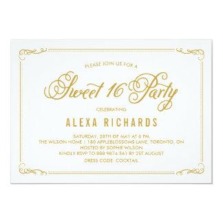Whimsical Border and Script   Gold Sweet Sixteen 13 Cm X 18 Cm Invitation Card
