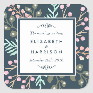 Whimsical Botanical Berry Wedding Favour Square Sticker