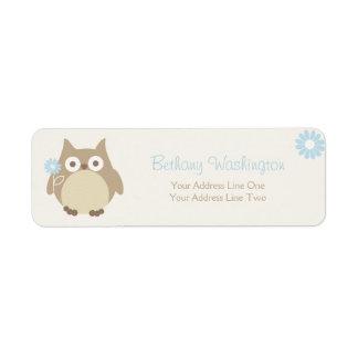 Whimsical Boy Owl Baby Shower Return Address Label