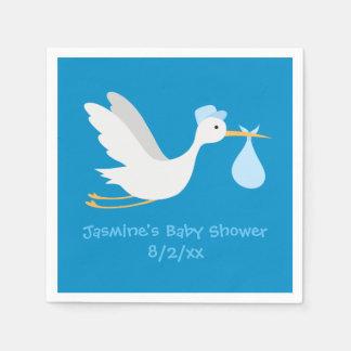 Whimsical Boy Stork Baby Shower Disposable Serviette