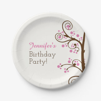 Whimsical Branch and Berry Birthday Party Paper Plate