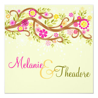 Whimsical Branches 13 Cm X 13 Cm Square Invitation Card