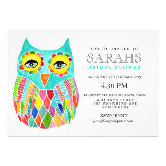Whimsical Bridal Shower Rainbow Owl Invite