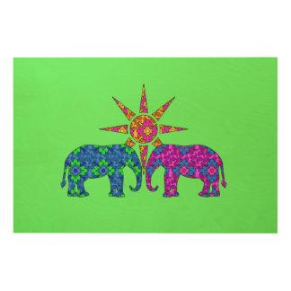 Whimsical Bright Green Paisley Elephant Love Wood Prints