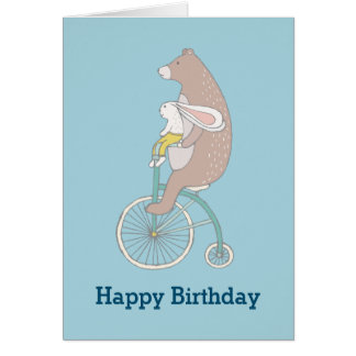 Whimsical Bunny and Bear Happy Birthday Card