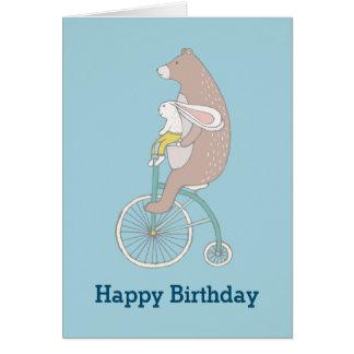 Whimsical Bunny and Bear Happy Birthday Greeting Card