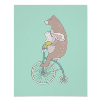 Whimsical Bunny and Bear Riding a Bike Poster