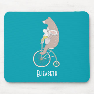 Whimsical Bunny and Bear Riding Together Mouse Mat