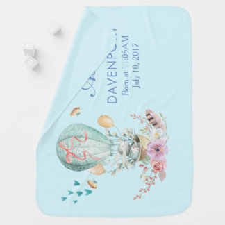 Whimsical Bunny Riding in a Hot Air Balloon Baby Blanket