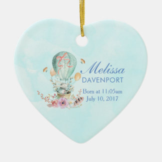 Whimsical Bunny Riding in a Hot Air Balloon Baby Christmas Ornament