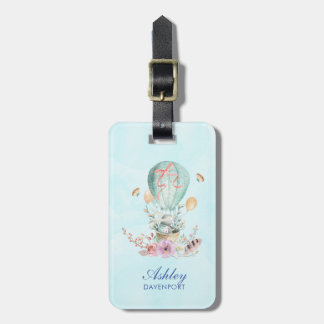 Whimsical Bunny Riding in a Hot Air Balloon Custom Luggage Tag