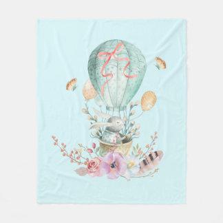 Whimsical Bunny Riding in a Hot Air Balloon Fleece Blanket