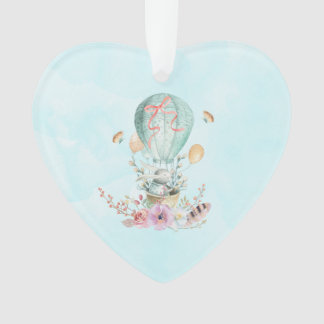 Whimsical Bunny Riding in a Hot Air Balloon Ornament